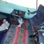 Inside my tent.