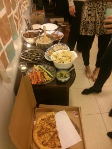 A hodgepodge of food that formed our Thanksgiving feast.