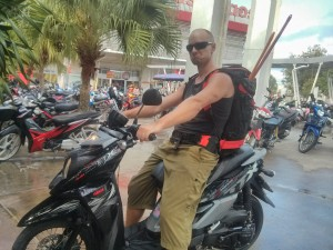 """Renting motorcycles and driving into town for supplies at Thai """"costco"""""""