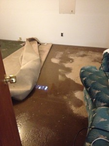My evacuated room with water