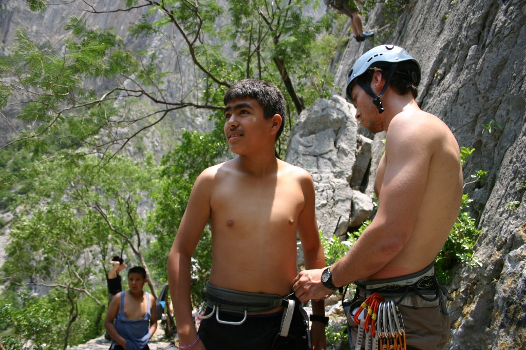 A Mexican boy visiting from the city climbed for the first time with us.