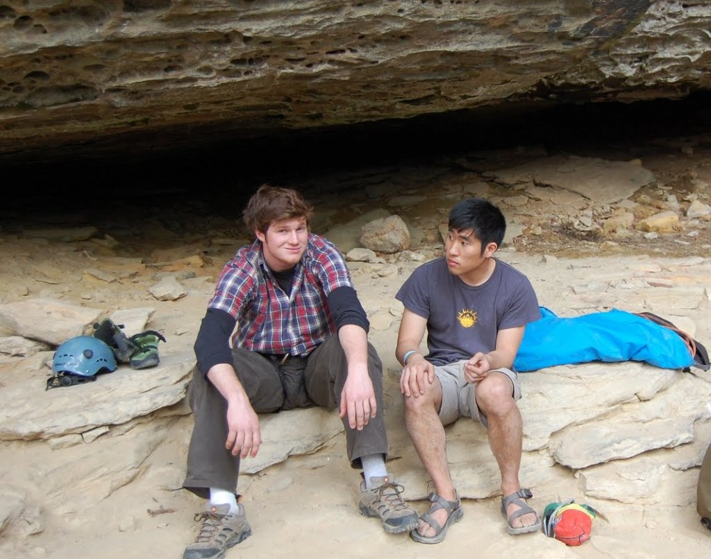 Sean and Jhung sharing a moment at Red River Gorge 2010