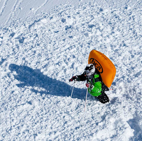 Example airbag deployed after an avalanche