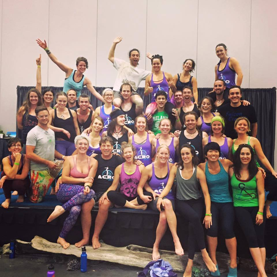 My Colorado acroyoga community together at the world acroyoga conference in Portland, OR