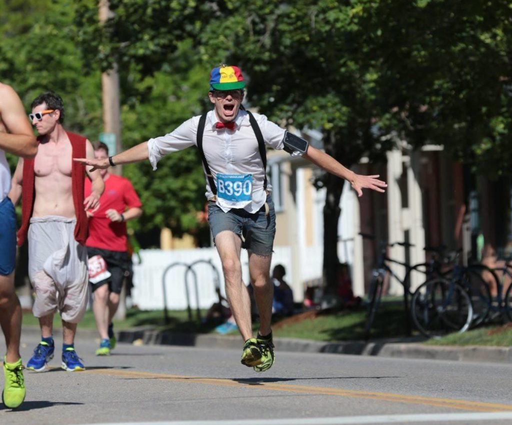Being crazy in a nerdy outfit during a race